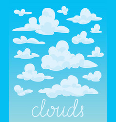 set of white fluffy clouds on blue sky background vector image