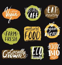 set with healthy eco and organic food labels can vector image