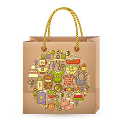 Shopping bag and cute colorful baby icon vector