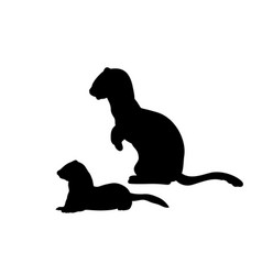 Silhouette weasel ferret with cub weasels vector