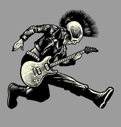 Skull punk style guitarist vector