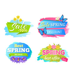spring big sale discounts 50 posters set labels vector image