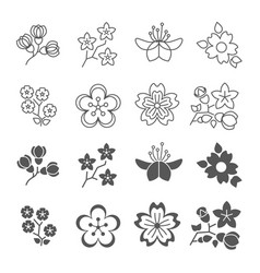 Spring blossom flowers line and silhouette icons vector