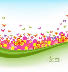 Springl banners with flower colorful and blue sky vector