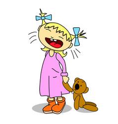 Stock crying girl with teddy bear vector