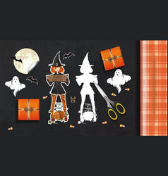 Table with gifts for halloween top view vector