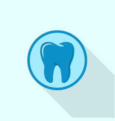 tooth on circle logo icon flat style vector image