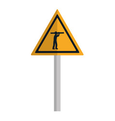Triangle caution emblem and laborer with equipment vector