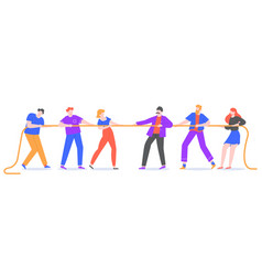 tug war young people pull rope opposite vector image