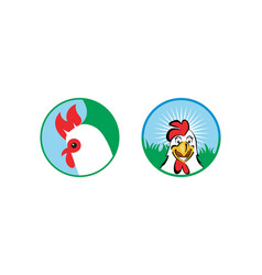two type chicken or rooster logo design vector image