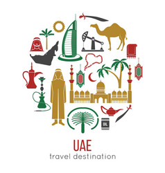 uae travel concept map flat icons design vector image