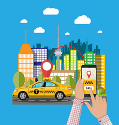 Urban cityscape with cab phone taxi service app vector