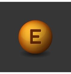 Vitamin E Orange Glossy Sphere Icon on Dark vector