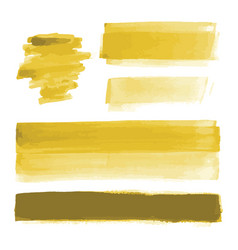 Yellow gold watercolor shapes paint brush strokes vector