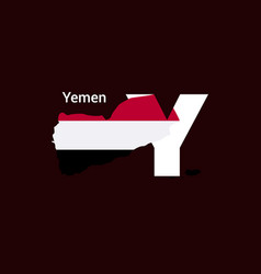 yemen initial letter country with map and flag vector image