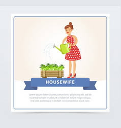 Young beautiful woman man watering plants i vector