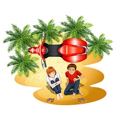 A topview of a boy and a girl near the motorcycle vector image vector image