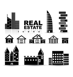 Black real estate houses buildings icon set vector image