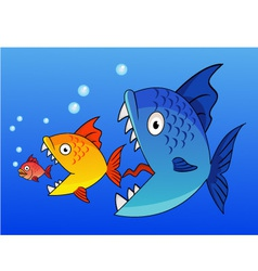 fish eat fish vector image vector image