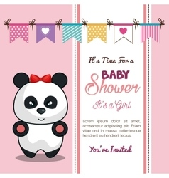 invitation baby shower card with panda girl desing vector image vector image