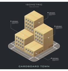 isometric cardboard building icon vector image