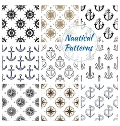 Nautical anchor wheel seamless patterns set vector image vector image
