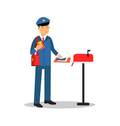 postman in blue uniform putting letters in mailbox vector image vector image