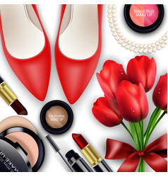 sets of cosmetics background with red tullips vector image