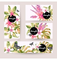 Summer set of cards with tropical green leaves vector image vector image