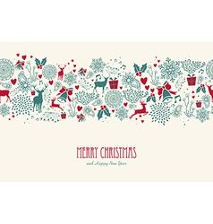 Vintage christmas reindeer seamless pattern vector