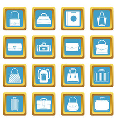 bag baggage suitcase icons azure vector image