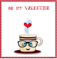 Be my valentine greeting card with cute cartoon vector