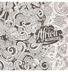 Cartoon cute doodles Africa frame vector image