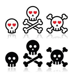 Cartoon skull with bones and hearts icon se vector image
