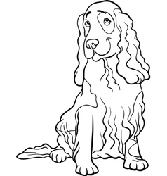 cocker spaniel dog cartoon for coloring book vector image vector image