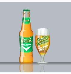 Digital glass of beer mockup vector image vector image