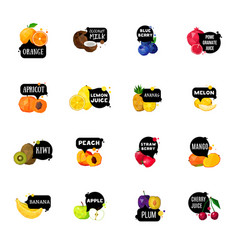 fresh fruits labels polygonal icons collection vector image