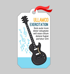 music tag with guitar vector image vector image