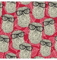 Seamless pattern with owls on the leaves vector image vector image