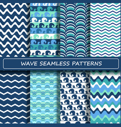 Set of blue and white sea wave seamless patterns vector image vector image