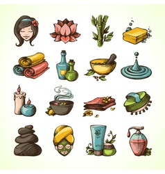 Spa Sketch Icons Colored vector image vector image