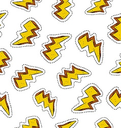 Thunder ray retro patch icon seamless pattern vector image vector image