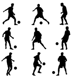 Different poses silhouettes of soccer players with vector image vector image