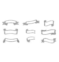 Engraving elegant ribbons set vector