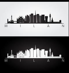 milan skyline and landmarks silhouette vector image