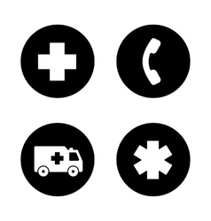 Ambulance black icons set vector image