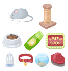 collar pet food and other products pet shop set vector image