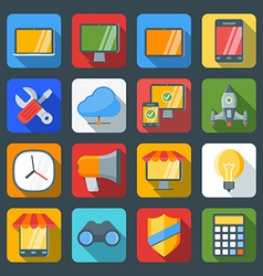 Flat style icon set for web and mobile application vector image
