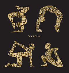 lace female silhouettes set yoga logo elements vector image