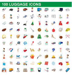 100 luggage icons set cartoon style vector image